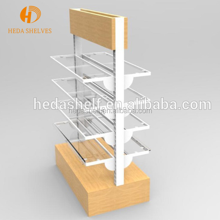 Supermarket Wooden Metallic Display Shelf