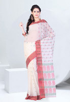 Off White Color Cotton Net Designer Saree