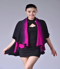 All-match Fashion Cashmere Cape Women's Cashmere Shawl With Fur Pom Pom Trim