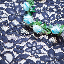 Nylon Cotton Royal Blue Cord Lace Fabric