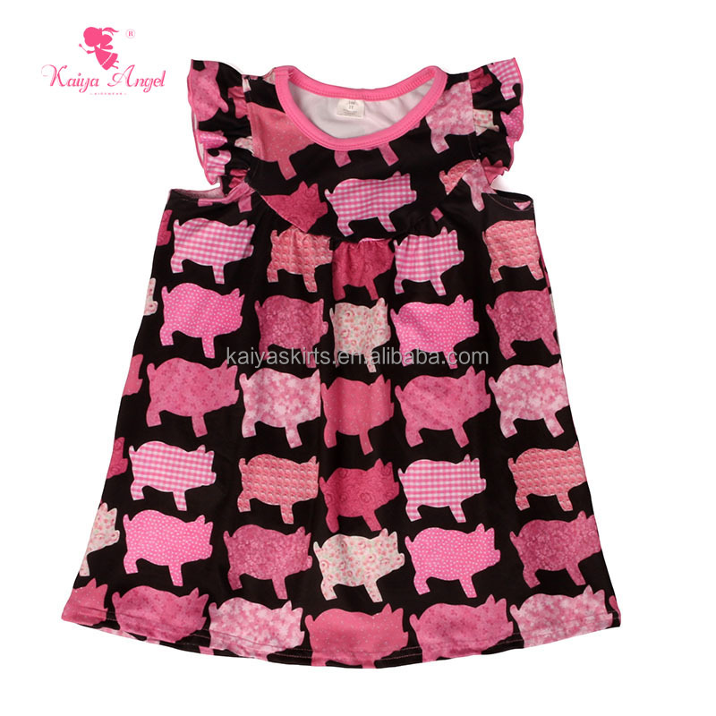 2018 summer kids boutique dress cute pink pig flutter sleeve icing baby girl dresses