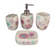 Fashion Accessories Beautiful BathToilet Ceramic Bathroom Set with pink flower Design