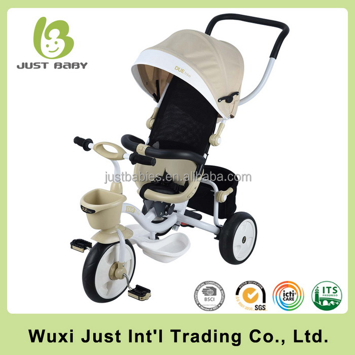 Baby stroller tricycle with safety belt, steel frame wholesale baby tricycle new models