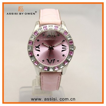 Assisi Candy Colorful PU Leather Band Gold Watch Women
