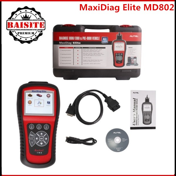 2017 Autel MaxiDiag Elite MD802 For 4 System Auto OBD2 Reset Code Scanner Automotive Diagnostics Car Scan Diagnostic Tool