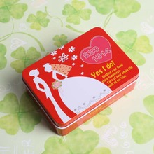 Custom tin box small gift rectangular thin metal tin candy gift box