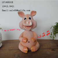 resin moving animal head of pig sensor Garden decoration