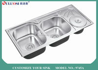 popular Asia silver Professional factory produced stainless steel laundry sink cabinet 9745A