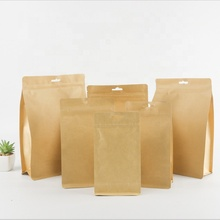 Brown kraft paper ziplock bags thick octagonal sealing packaging stand up bag with a hole