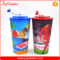 Custom Print Stadium Hard Plastic Water Cup, Drink Bottle Supplier With Straw