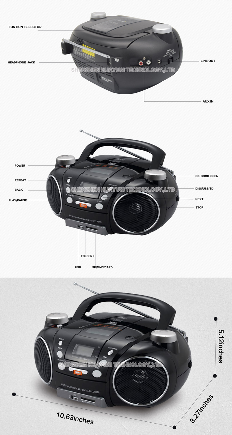 Outdoor AM FM Radio USB SD Card Read Boombox Portable CD Player With Headphone Jack