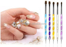 Colorful 5pcs 2-Ways UV Gel Nail Art Design Tips Dotting Painting Brush Pen Set