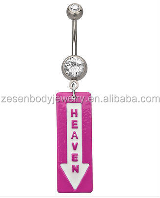 Heaven Down Pink Funny Logo Belly Bar / Navel Ring