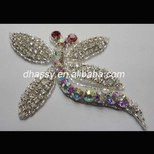 wholesale Dragonfly shape ab Crystal Embellishments Rhinestone Applique for DIY hair clip