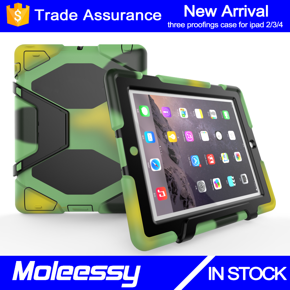 Factory wholesale outdoor waterpoof 9.7inch tablet case for ipad 2 kid proof armor case covers
