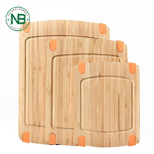 3-Piece Bamboo Cutting Board Set: bamboo Butcher Block Boards with Juice Groove and Non-Slip Edged Rubbler Bar Board