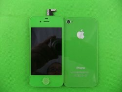 Wholesale for iphone 4s Green lcd with digitizer assembly with battery Cover