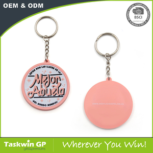 2D pink round shaped soft PVC keychain with metal keyring