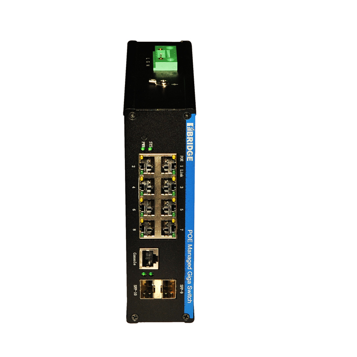Industrial 8 ports Managed PoE Switch with 8 PoE Ports and 2 Gigabit Combo Ports.Each PoE Port Power Can be up to 15.5W