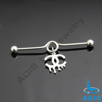 Surgical steel curved fashion ear piercing dangle magnetic industrial ear piercing