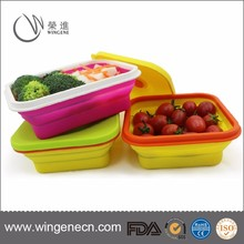 Food grade non-stick collapsible silicone folding microwave lunch box with lid