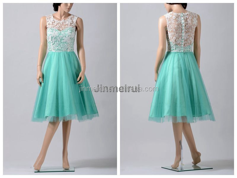 2016 Lace Prom Dresses Cap Sleeve Prom Gowns Tea Length Handmade Party Dresses J139