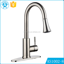 Factory OEM Brushed Zinc alloy pull out Single hole hot cold water mixer kitchen tap