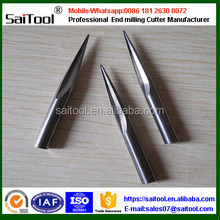 Helical carbide end milling cutters with flat working end