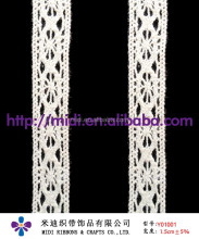 Beige/Ivory Floral Lace Ribbon Cotton Lace Trim 1.5cm