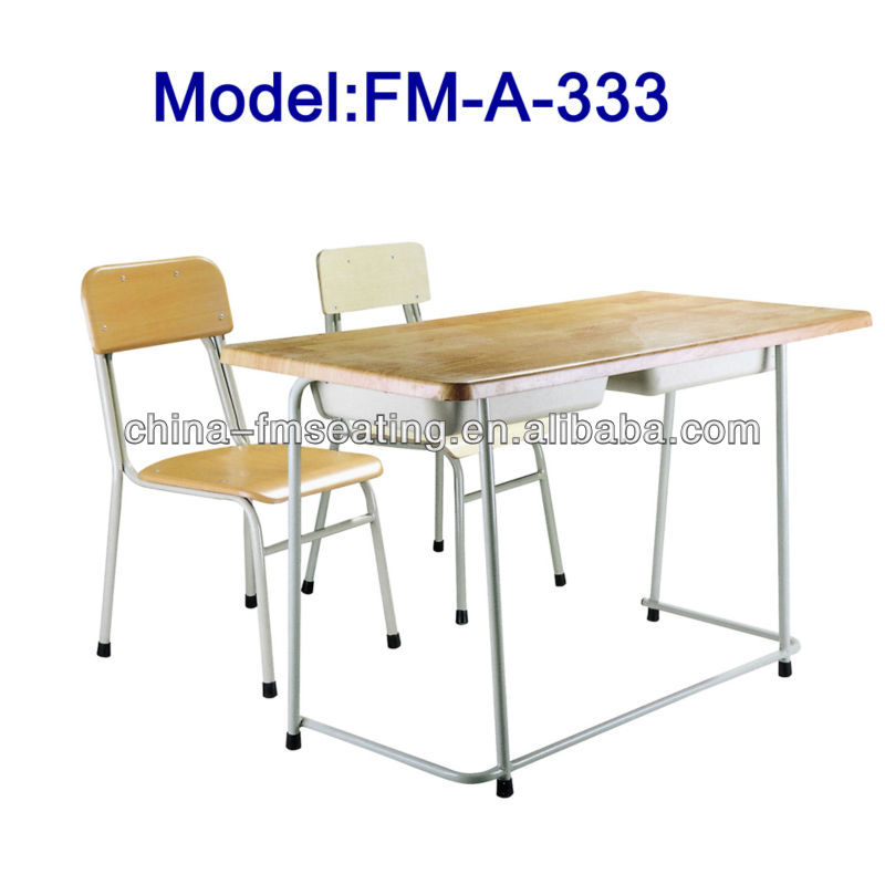 FM-A-333 Double high school furniture classroom chairs and desk