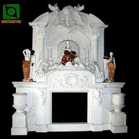 Luxury Marble Double Fireplace Mantel With