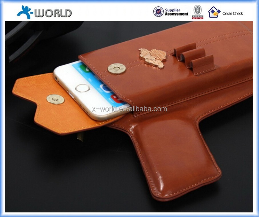 Western style fashion wallet gun shape phone cover for iphone 6/6 plus