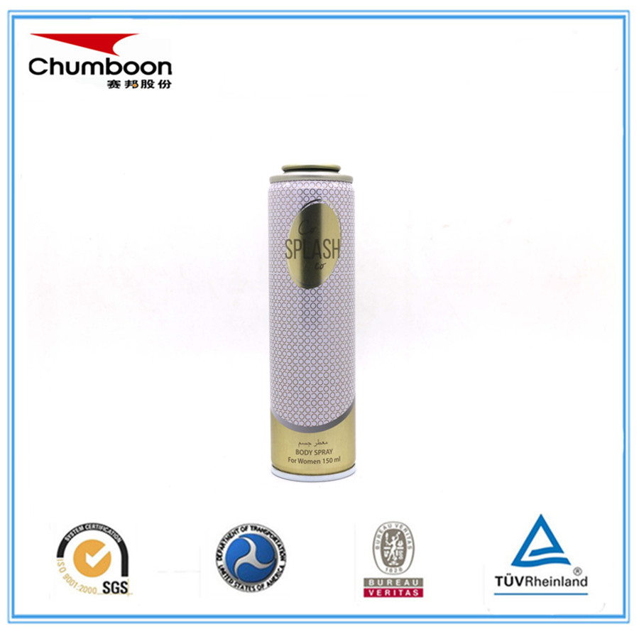 metallic printing effect empty tinplate aerosol can with valve for body spray
