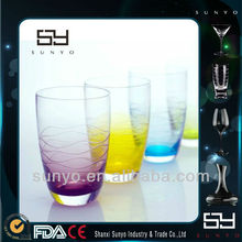 Purple Yellow Green Colored Drinking Glass Tumbler