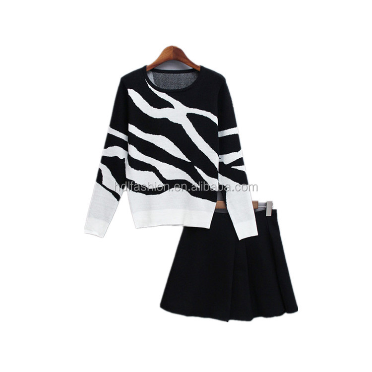 Fashion new design black and white sweater top and skirt two piece outfits women