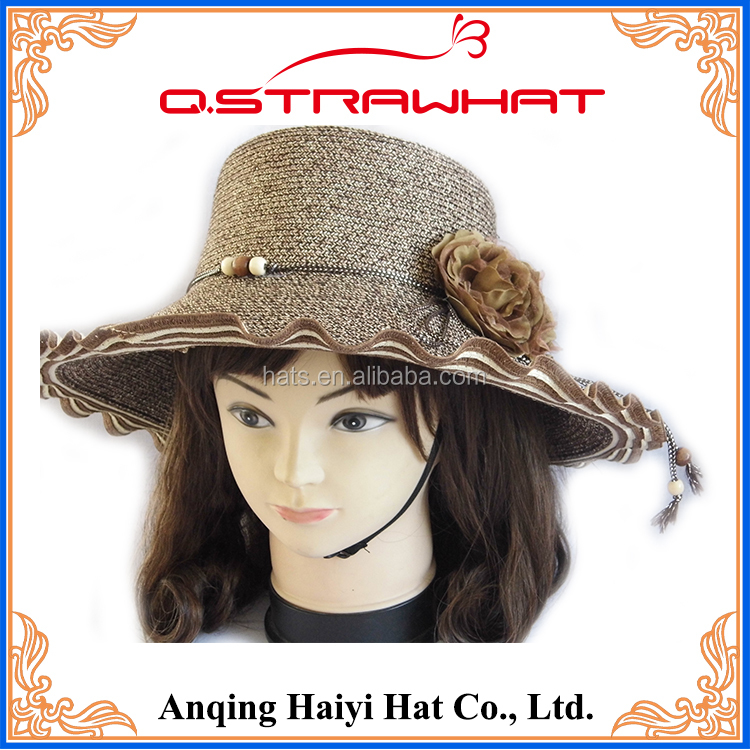 HY-0128 handmade women dress decorative ornament natual grass hat
