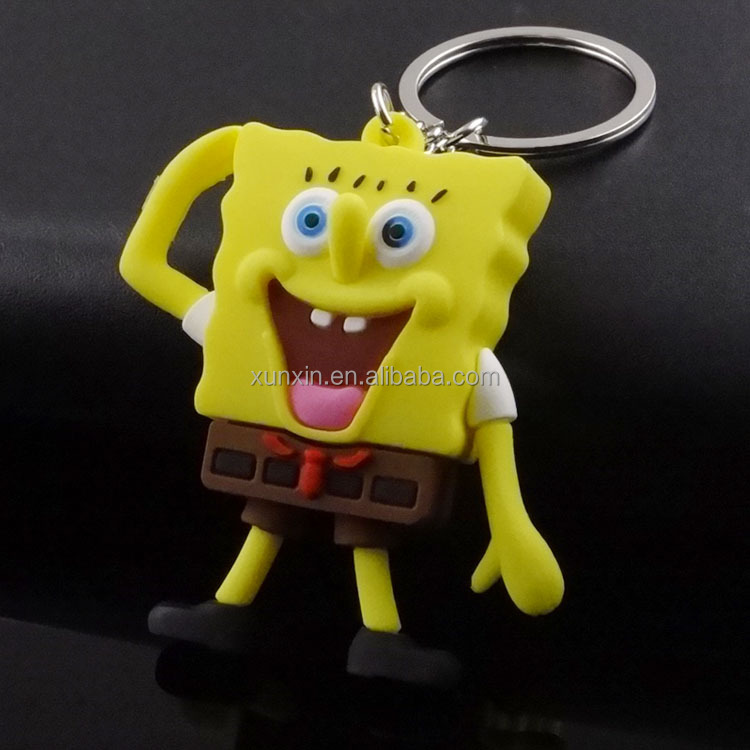 Hot sell cartoon Classroom Cupid keychain The SpongeBob SquarePants Movie key chain as promotional for kids