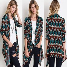 Geometric Print Cardigan fall,lady printed cardigan wholesaler china,cardigan women long sleeve kimono spring