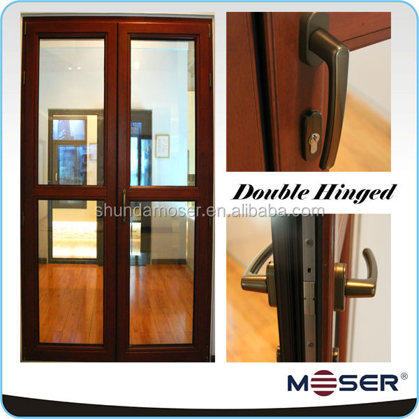 Solid wood double door and window grill desien