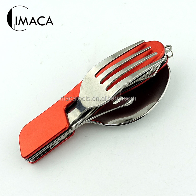 Multifunction 6 in 1 stainless steel cutlery set detachable camping fork knife spoon set