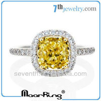 Fashionable Big Stone Ring Engagement Ring Design with Rhodium Plated Yellow CZ Diamond
