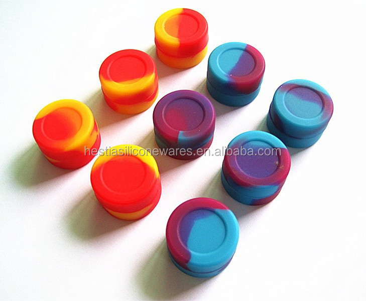 FDA approved food grade slick oil small mini matte finish non stick 3ml silicone container for wax oil sample containers