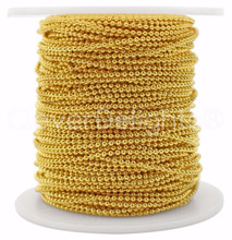 Factory Directly Sell Stainless Steel Ball Chain Spool - 30 Feet - Gold Color - 1.5mm Ball - 10 Yards Bulk