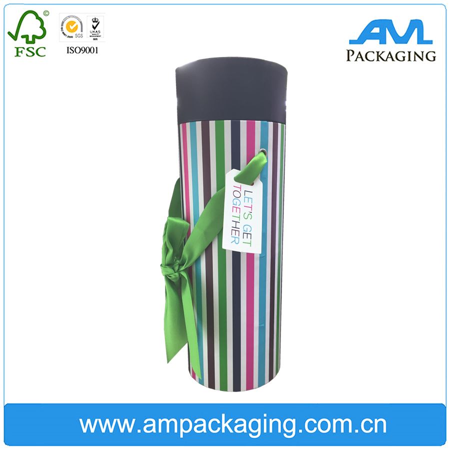Colored Gift Tin Box Hardcover Round Cardboard Paper Tube with Handle