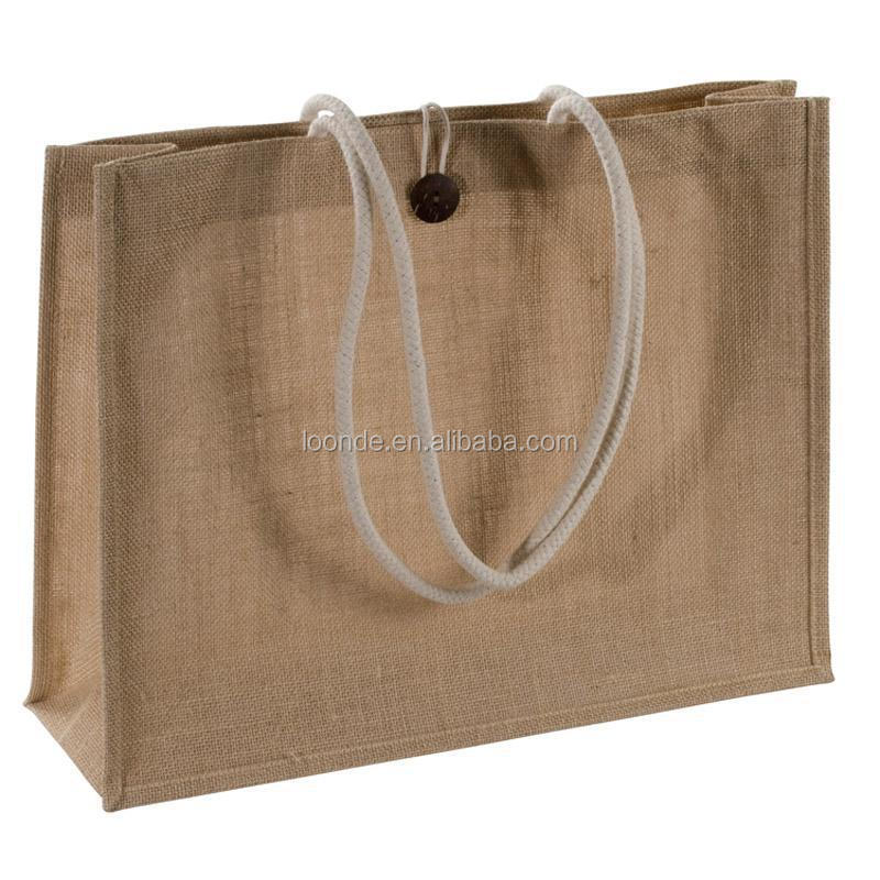 Natural jute burlap tote bag with cotton handles and buttoned closure