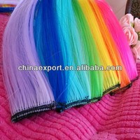 colorful synthetic hair extension, wholesale solid color/clip in