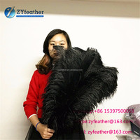wholesale wide good quality black ostrich feather for dance costumes