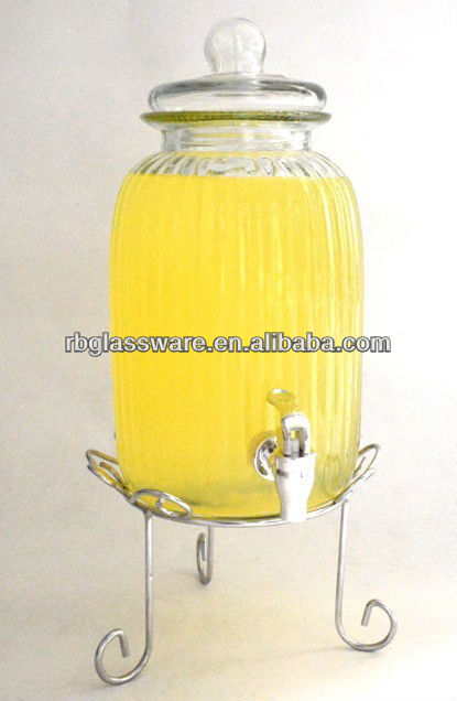 hot selling clear glass water dispenser with rack