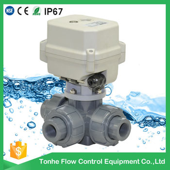 A150-T15-P3-B 3 way DN15 CR5 01 DC12v DC24v UPVC motorized valve with manual override