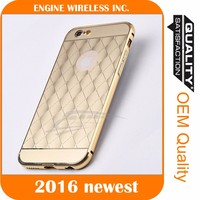 Luxury mirror back case and metal bumper cover case for iphone 5c